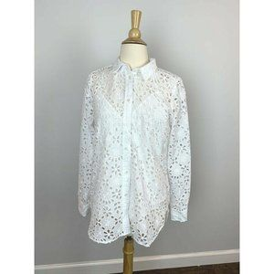 J.Crew Women's Long Sleeve Shirt White Embroidered